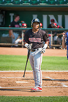 Kevin Franklin (48) of the Billings Mustangs at bat against the Ogden Raptors in Pioneer League action at Lindquist Field on August 16, 2015 in Ogden, Utah. Billings defeated Ogden 6-3. (Stephen Smith/Four Seam Images)
