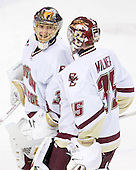 Chris Venti (BC - 30), Parker Milner (BC - 35) - The Boston College Eagles defeated the Northeastern University Huskies 5-1 on Saturday, November 7, 2009, at Conte Forum in Chestnut Hill, Massachusetts.