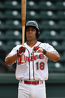 Third baseman Steven Reveles (18) of the Greenville Drive bats in game one of a doubleheader against the Rome Braves on Tuesday, May 30, 2017, at Fluor Field at the West End in Greenville, South Carolina. Rome won, 10-7. (Tom Priddy/Four Seam Images)