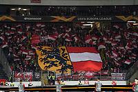 Fans von RB Salzburg mit dem Wappen - 20.02.2020: Eintracht Frankfurt vs. RB Salzburg, UEFA Europa League, Hinspiel Round of 32, Commerzbank Arena DISCLAIMER: DFL regulations prohibit any use of photographs as image sequences and/or quasi-video.