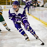 2 February 2020: Holy Cross Crusader Defender Emma Lange, a Sophomore from Cheshire, CT, in first period action against the University of Vermont Catamounts at Gutterson Fieldhouse in Burlington, Vermont. The Lady Cats rallied in the 3rd period to tie the Crusaders 2-2 in NCAA Women's Hockey East play. Mandatory Credit: Ed Wolfstein Photo *** RAW (NEF) Image File Available ***