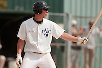 25 April 2010: Bertrand Dubaut of the PUC is seen at bat during game 1/week 3 of the French Elite season won 12-4 by Rouen over the PUC, at the Pershing Stadium in Vincennes, near Paris, France.
