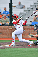 Johnson City Cardinals right fielder Jonathan Rivera (52) swings at a pitch during a game against the Bristol Pirates at TVA Credit Union Ballpark on June 23, 2017 in Johnson City, Tennessee. The Pirates defeated the Cardinals 4-3. (Tony Farlow/Four Seam Images)