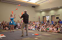 NWA Democrat-Gazette/BEN GOFF @NWABENGOFF<br /> Ellen Winters and Galen Harp of Institute of Jugglology from Fayetteville perform on Thursday June 9, 2016 at the Bentonville Public Library. Harp and Winters won the International Jugglers Association team juggling world championship in 2014 with their act.