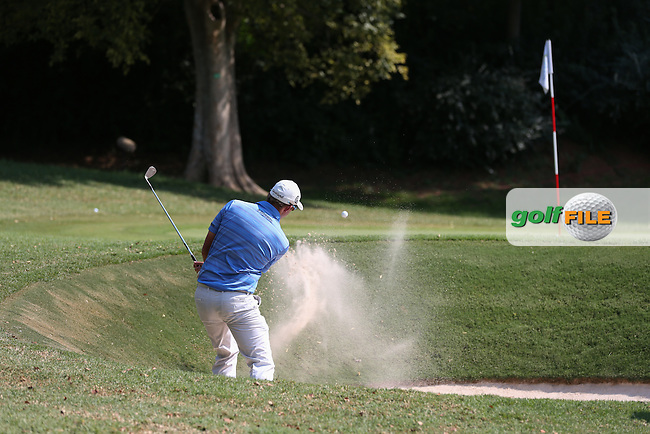 Dean Burmester (RSA) plays out of the bunker on the 15th during Round Three of the Tshwane Open 2015 at the Pretoria Country Club, Waterkloof, Pretoria, South Africa. Picture:  David Lloyd / www.golffile.ie. 14/03/2015