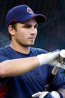 Mike Rouse of the Cleveland Indians during batting practice before a game from the 2007 season at Angel Stadium in Anaheim, California. (Larry Goren/Four Seam Images)