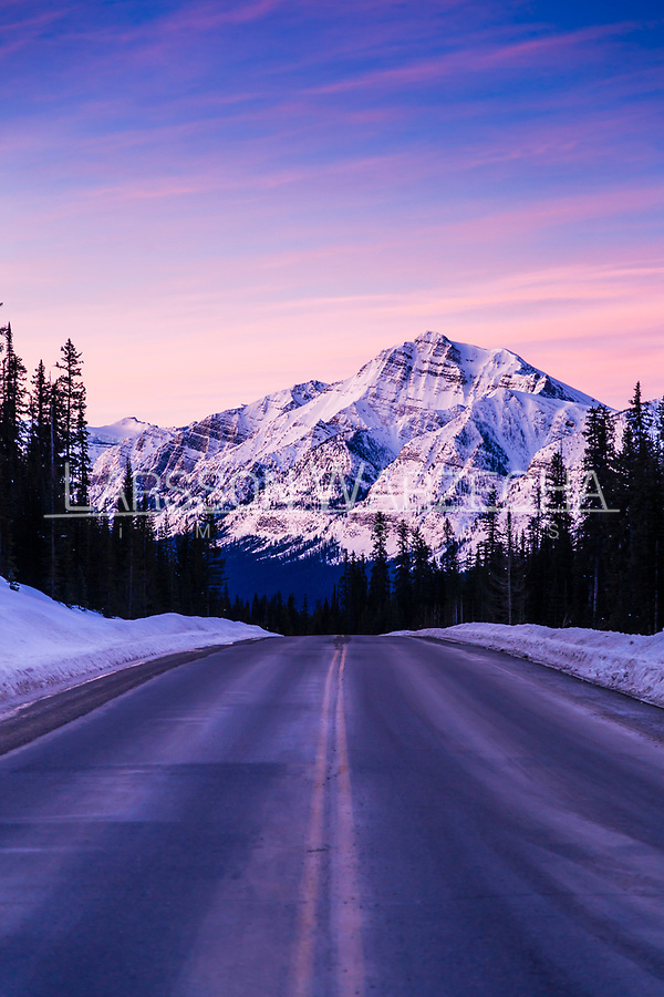 Sunrise over Icefields Parkway.<br /> The Icefields Parkway is 227 km of mountain road built between Jasper and Lake Louise, one of Canada's national treasures and most rewarding destinations through the heart of the Canadian Rocky Mountain Parks World Heritage Site.