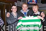 THE BHOYS: Enjoying the Association of Ireland Celtic Supporters Club night at Ruari's bar, Tralee on Friday l-r: Nihcolas Carmody, Damien Brycki and Gay Commane.