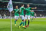 08.03.2019, Weserstadion, Bremen, GER, 1.FBL, Werder Bremen vs FC Schalke 04<br /> <br /> DFL REGULATIONS PROHIBIT ANY USE OF PHOTOGRAPHS AS IMAGE SEQUENCES AND/OR QUASI-VIDEO.<br /> <br /> im Bild / picture shows<br /> Jubel 1:1, Milot Rashica (Werder Bremen #11) bejubelt seinen Treffer zum 1:1 mit Ludwig Augustinsson (Werder Bremen #05) und Max Kruse (Werder Bremen #10), <br /> <br /> Foto &copy; nordphoto / Ewert