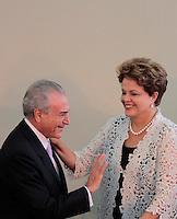 SAO PAULO, SP, 25 DE JANEIRO DE 2012 - ENTREGA MEDALHA 25 DE JANEIRO - Vice Presidente Michel Temer ao lado da presidente Dilma Rousseff durante cerimonia de entrega da Medalha 25 de Janeiro na sede da Prefeitura de Sao Paulo, na regiao central da capital paulista nessa quarta-feira, 25. FOTO: VANESSA CARVALHO - NEWS FREE.