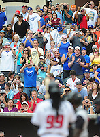 Jun. 23, 2009; Albuquerque, NM, USA; Fans cheer as Albuquerque Isotopes outfielder Manny Ramirez comes to bat in the first inning against the Nashville Sounds at Isotopes Stadium. Ramirez is playing in the minor leagues while suspended for violating major league baseballs drug policy. Mandatory Credit: Mark J. Rebilas-