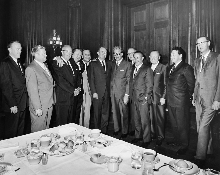 Vice President Hubert Humphrey with mayors in 1966. (Photo by CQ Roll Call)