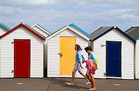 Colorful bath houses in Paignton,  Devon, England