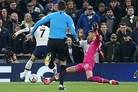 Angus Gunn of Southampton clips Son Heung-Min of Tottenham Hotspur for a penalty leading to Spurs third goal during Tottenham Hotspur vs Southampton, Emirates FA Cup Football at Tottenham Hotspur Stadium on 5th February 2020