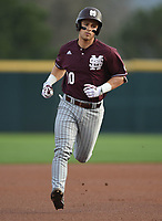NWA Democrat-Gazette/ANDY SHUPE<br />Mississippi State shortstop Ryan Gridley rounds the bases Friday, March 17, 2017, against Arkansas after hitting a home run during the first inning at Baum Stadium in Fayetteville. Visit nwadg.com/photos to see more photographs from the game.