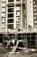 Construction workers in Beijing.