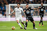 Isco (l) of Real Madrid battles for the ball with Florin Andone of RC Deportivo La Coruna during the La Liga match between Real Madrid and RC Deportivo La Coruna at the Santiago Bernabeu Stadium on 10 December 2016 in Madrid, Spain. Photo by Diego Gonzalez Souto / Power Sport Images