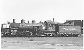Left side view of K-37 #497.<br /> D&amp;RGW  Alamosa, CO  Taken by Gibson, William A. Sr. - 8/23/1956