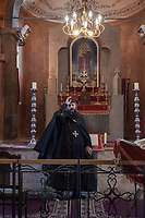 Armenia. Ararat Province. Byuravan. Armenian Apostolic Church. Father Ghasar Petrosyan during a morning mass at Saint Gregory the Illuminator church. The Armenian Apostolic Church is the national church of the Armenian people. Part of Oriental Orthodoxy, it is one of the most ancient Christian communities. Byuravan is a village located in the Ararat Province. 10.10.2019 © 2019 Didier Ruef