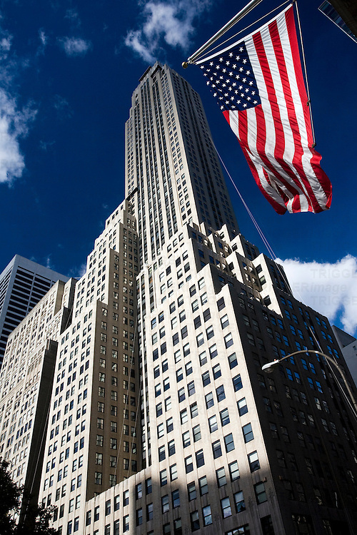 500 Fifth Avenue building, NYC, USA. with stars and stripes flag