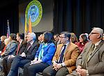 Hempstead, New York, USA. January 1, 2018. R-L, NY Senator JOHN E. BROOKS, Nassau County Comptroller JACK SCHNIRMAN, N.C. District Attorney MADELINE SINGAS are among dignitaries attending Swearing-In of LAURA GILLEN as Hempstead Town Supervisor, and SYLVIA CABANA as Hempstead Town Clerk at Hofstra University.