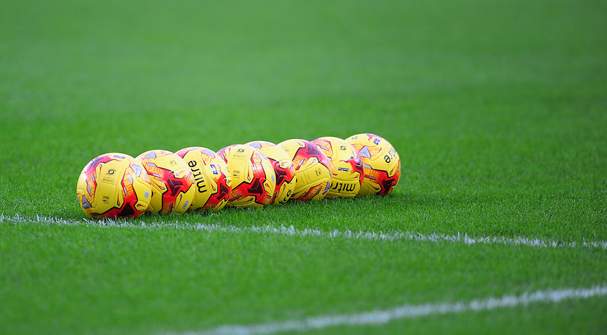 A close up of Hull City yellow Mitre match football's during the pre-match warm-up <br /> <br /> Photographer Chris Vaughan/CameraSport<br /> <br /> Football - The Football League Sky Bet Championship - Hull City v Burnley - Saturday 26th December 2015 - Kingston Communications Stadium - Hull<br /> <br /> &copy; CameraSport - 43 Linden Ave. Countesthorpe. Leicester. England. LE8 5PG - Tel: +44 (0) 116 277 4147 - admin@camerasport.com - www.camerasport.com