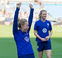 CHARLOTTE, NC - OCTOBER 2: Emily Sonnett #14 of the United States yells at Bank of America Stadium on October 2, 2019 in Charlotte, North Carolina.