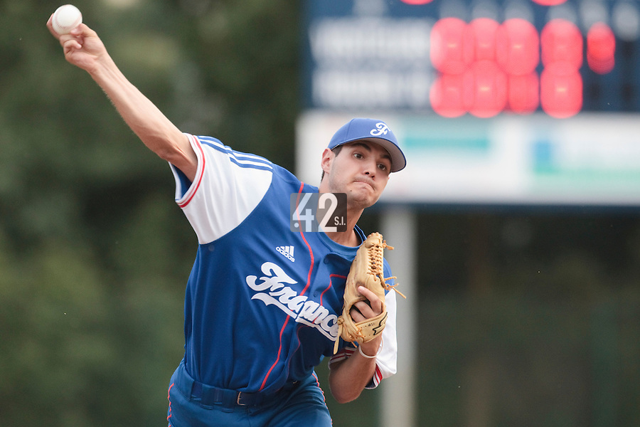 13 July 2010: Joris Navarro of Team France pitches against Team All Star Elite during day 1 of the Open de Rouen, an international tournament with Team France, Team Saint Martin, Team All Star Elite, at Stade Pierre Rolland, in Rouen, France.