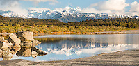Reflections of Southern Alps with Mt. Tasman and Aoraki, Mt. Cook from Three Mile beach near Okarito, Westland Tai Poutini National Park, West Coast, UNESCO Wolrd Heritage Area, New Zealand, NZ
