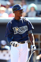 Tampa Bay Rays outfielder B.J. Upton #2 at bat during a spring training game against the Baltimore Orioles at the Charlotte County Sports Park on March 5, 2012 in Port Charlotte, Florida.  (Mike Janes/Four Seam Images)