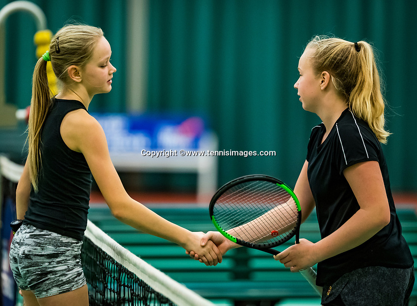 Wateringen, The Netherlands, November 27 2019, De Rhijenhof , NOJK 12/16 years, Britt Du Pree (NED) (R) is congratulated by Mies Hoeben (NED)<br /> Photo: www.tennisimages.com/Henk Koster