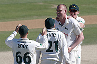 Luke Fletcher of Notts celebrates with his team mates after taking the wicket of Tom Westley during Essex CCC vs Nottinghamshire CCC, Specsavers County Championship Division 1 Cricket at The Cloudfm County Ground on 22nd June 2018