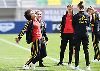20190227 - LARNACA , CYPRUS :  Belgian Kassandra Missipo , Davina Philtjens and Zandy Soree pictured prior to a women's soccer game between the Belgian Red Flames and Slovakia , on Wednesday 27 February 2019 at the AEK Arena in Larnaca , Cyprus . This is the first game in group C for Belgium during the Cyprus Womens Cup 2019 , a prestigious women soccer tournament as a preparation on the Uefa Women's Euro 2021 qualification duels. PHOTO SPORTPIX.BE | DAVID CATRY