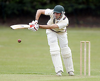 George Adair bats for Hampstead during the Middlesex County Cricket League Premier Division  game between Hampstead and North Middlesex at Lymington Road, Hampstead on Sat July 19, 2014