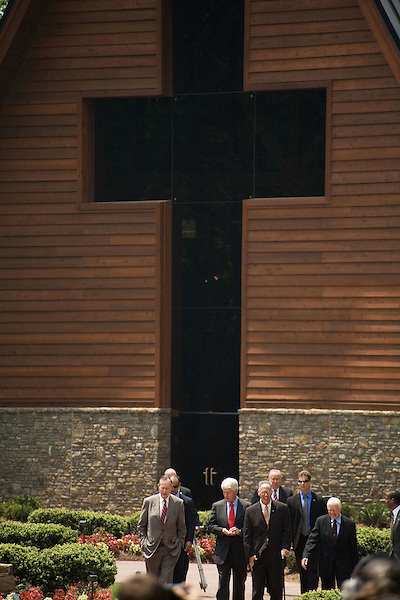 Thursday, May 31, Charlotte, North Carolina. Dedication ceremony for the new Billy Graham Library in Charlotte, North Carolina.. (left to right) Former US presidents George HW Bush, Bill Clinton and Jimmy Carter, far right, exit the new library.