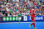 ENG - London, England, August 29: During the men bronze medal match between Ireland (green) and England (red) on August 29, 2015 at Lee Valley Hockey and Tennis Centre, Queen Elizabeth Olympic Park in London, England. Final score 4-2 (2-2). (Photo by Dirk Markgraf / www.265-images.com) *** Local caption *** Michael HOARE #12 of England