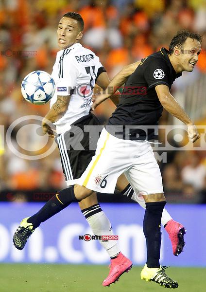 Valencia's Rodrigo (l) and AS Monaco FC's Ricardo Carvalho during Champions League 2015/2016 Play-Offs 1st leg match. August  19,2015. (ALTERPHOTOS/Acero)