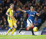Lee Wallace cuts the ball across the face of the goal looking for a tap in but not finding anyone