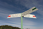 Israel, Mount Gilboa. The trail sign on Mount Barkan