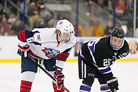 The Liberty Flames Men's D1 hockey team hosts NYU for Homecoming Weekend at the LaHaye Ice Center on October 19, 2018. (Photo by Gabrielle Calhoun)