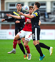 Fleetwood Town's Wes Burns vies for possession with  Shrewsbury Town's Oliver Norburn and Shrewsbury Town's Matthew Sadler<br /> <br /> Photographer Richard Martin-Roberts/CameraSport<br /> <br /> The EFL Sky Bet League One - Fleetwood Town v Shrewsbury Town - Saturday 13th October 2018 - Highbury Stadium - Fleetwood<br /> <br /> World Copyright &not;&copy; 2018 CameraSport. All rights reserved. 43 Linden Ave. Countesthorpe. Leicester. England. LE8 5PG - Tel: +44 (0) 116 277 4147 - admin@camerasport.com - www.camerasport.com