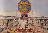 Technology:  Balloons--Etienne Montgolfier's Balloon, Nov. 21, 1783 just before release, Bois de Boulogne, Paris. Rozier & Arlandes aboard. Reference only. Reference only.