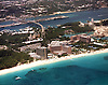 Aerial view of Paradise Island Hotel and Casino in the Bahama Islands