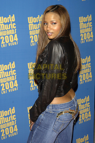 CIERA.Attends Cocktail Party preceeding the World Music Awards, Las Vegas, USA, September 14th 2004..half length black leather jacket jeans.Ref: PL.www.capitalpictures.com.sales@capitalpictures.com.©Capital Pictures.