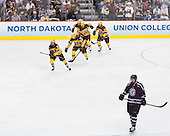 Justin Kloos (MN - 25) heads to the bench to celebrate after his goal. - The Union College Dutchmen defeated the University of Minnesota Golden Gophers 7-4 to win the 2014 NCAA D1 men's national championship on Saturday, April 12, 2014, at the Wells Fargo Center in Philadelphia, Pennsylvania.