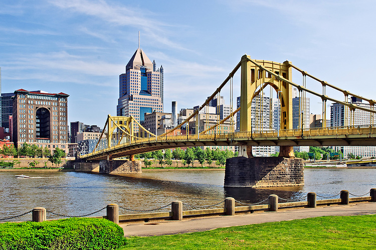 View of downtown Pittsburgh from the North Shore of the Allegheny River.