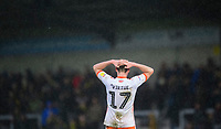 Blackpool's Matty Virtue reacts at the end of the game<br /> <br /> Photographer Chris Vaughan/CameraSport<br /> <br /> The EFL Sky Bet League One - Burton Albion v Blackpool - Saturday 16th March 2019 - Pirelli Stadium - Burton upon Trent<br /> <br /> World Copyright &copy; 2019 CameraSport. All rights reserved. 43 Linden Ave. Countesthorpe. Leicester. England. LE8 5PG - Tel: +44 (0) 116 277 4147 - admin@camerasport.com - www.camerasport.com