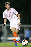 08 October 2013: Clemson's Alex Stockinger (ENG). The University of North Carolina Tar Heels hosted the Clemson University Tigers at Fetzer Field in Chapel Hill, NC in a 2013 NCAA Division I Men's Soccer match. Clemson won the game 2-1 in overtime.
