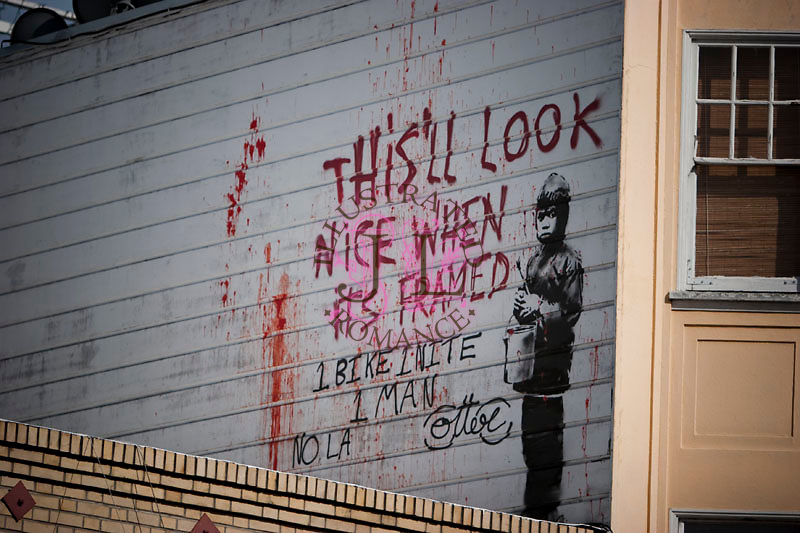 Images of street graffiti artist Banksy's work in San Francisco, 2010