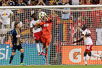 Philadelphia Union goalkeeper Zac MacMath (18) grabs a pass intended for Peguy Luyindula (88) of the New York Red Bulls. The New York Red Bulls and the Philadelphia Union played to a 0-0 tie during a Major League Soccer (MLS) match at Red Bull Arena in Harrison, NJ, on August 17, 2013.